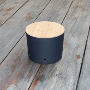zwarte opbergpot met bamboe deksel