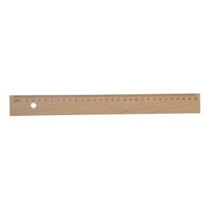 Houten lat 30 cm met staalkant
