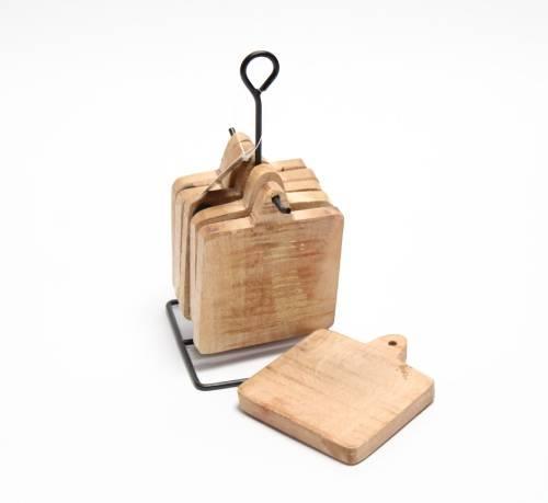 6 houten onderzetters met metaal houder