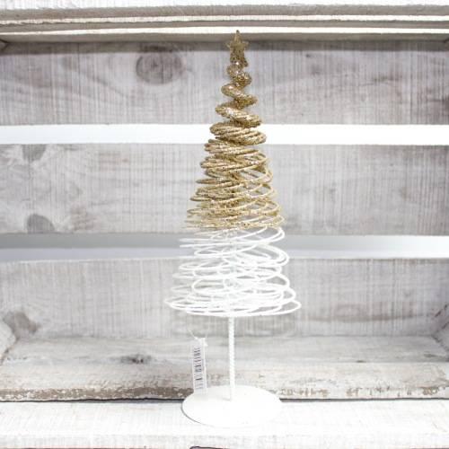 wit/goud metalen kerstboom 30 cm hoogte