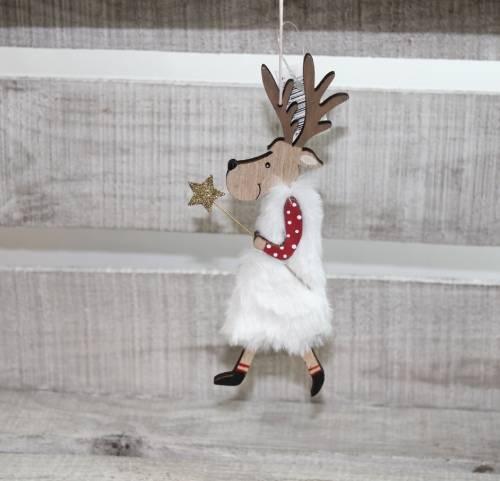 kerstboomhanger hert in hout
