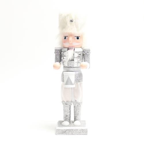 kerst notenkraker trommel wit/zilver 25 cm