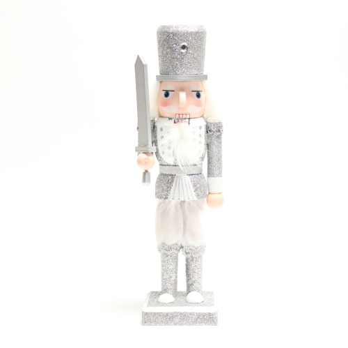 Kerst notenkraker zwaard wit/zilver 25 cm